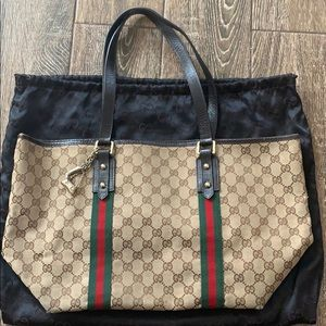 Gucci Authentic Canvas Tote Bag with Charms